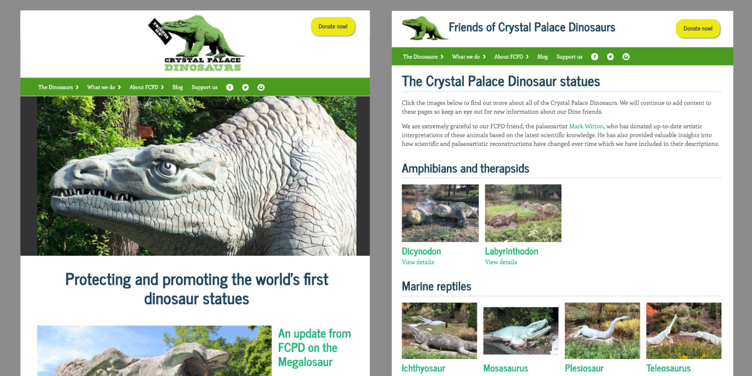 Friends of Crystal Palace Dinosaurs site screen grab