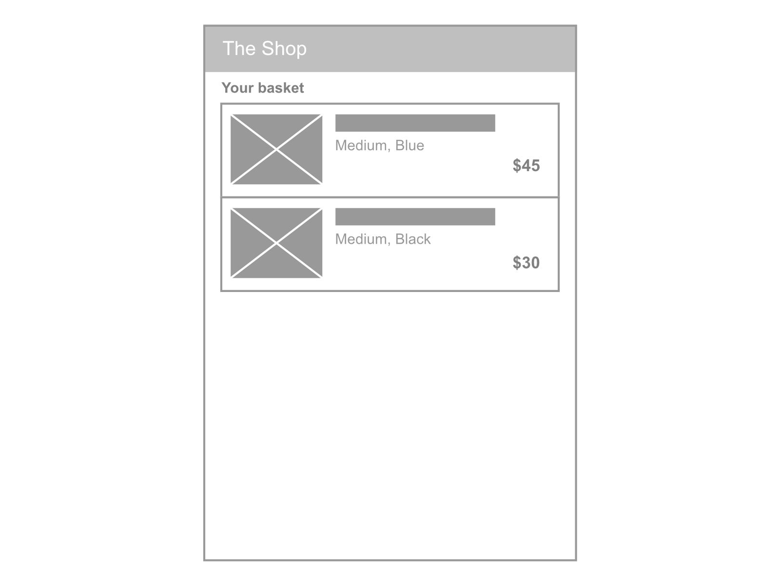 Shopping basket UX items