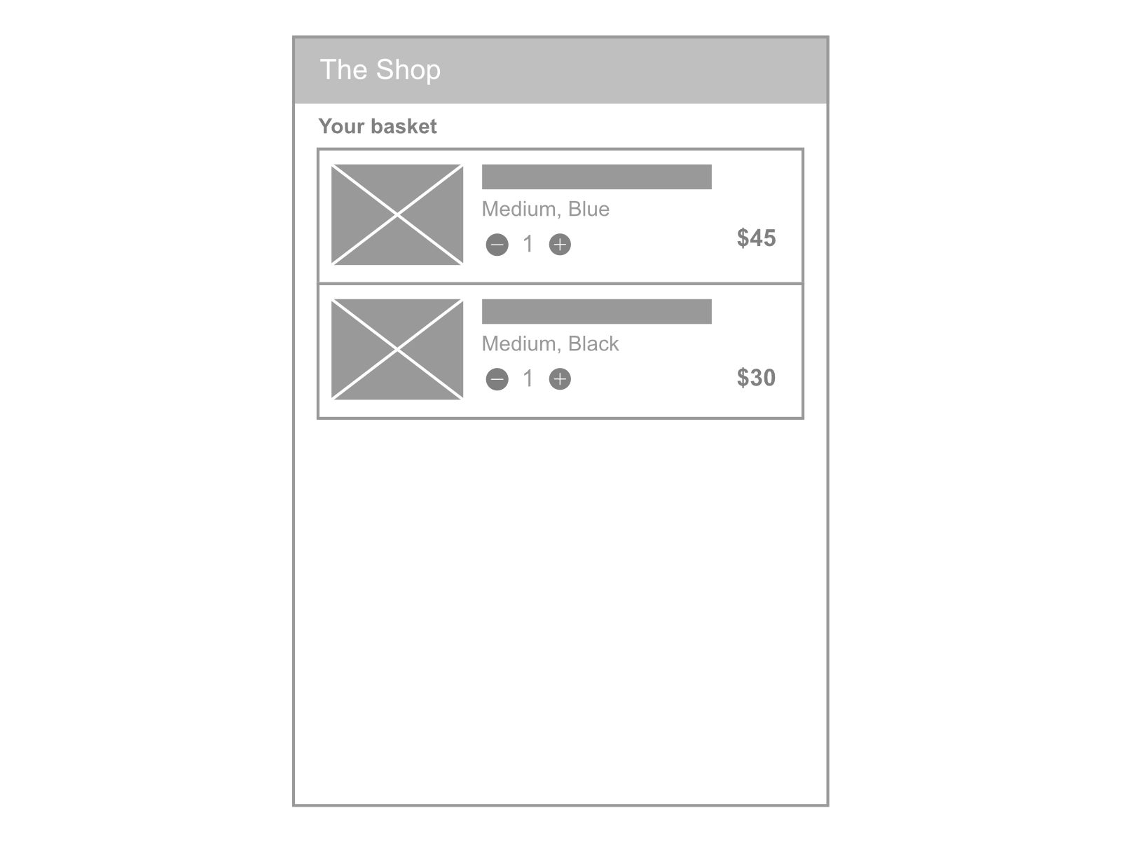 Shopping basket UX quantity
