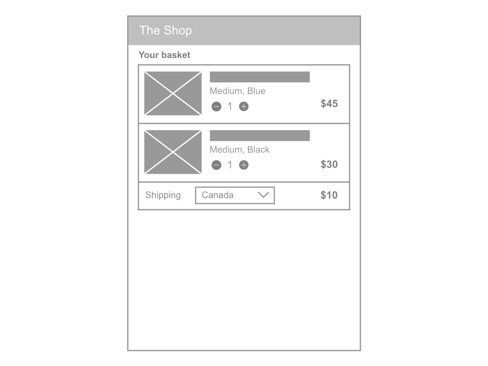 Shopping basket UX shipping