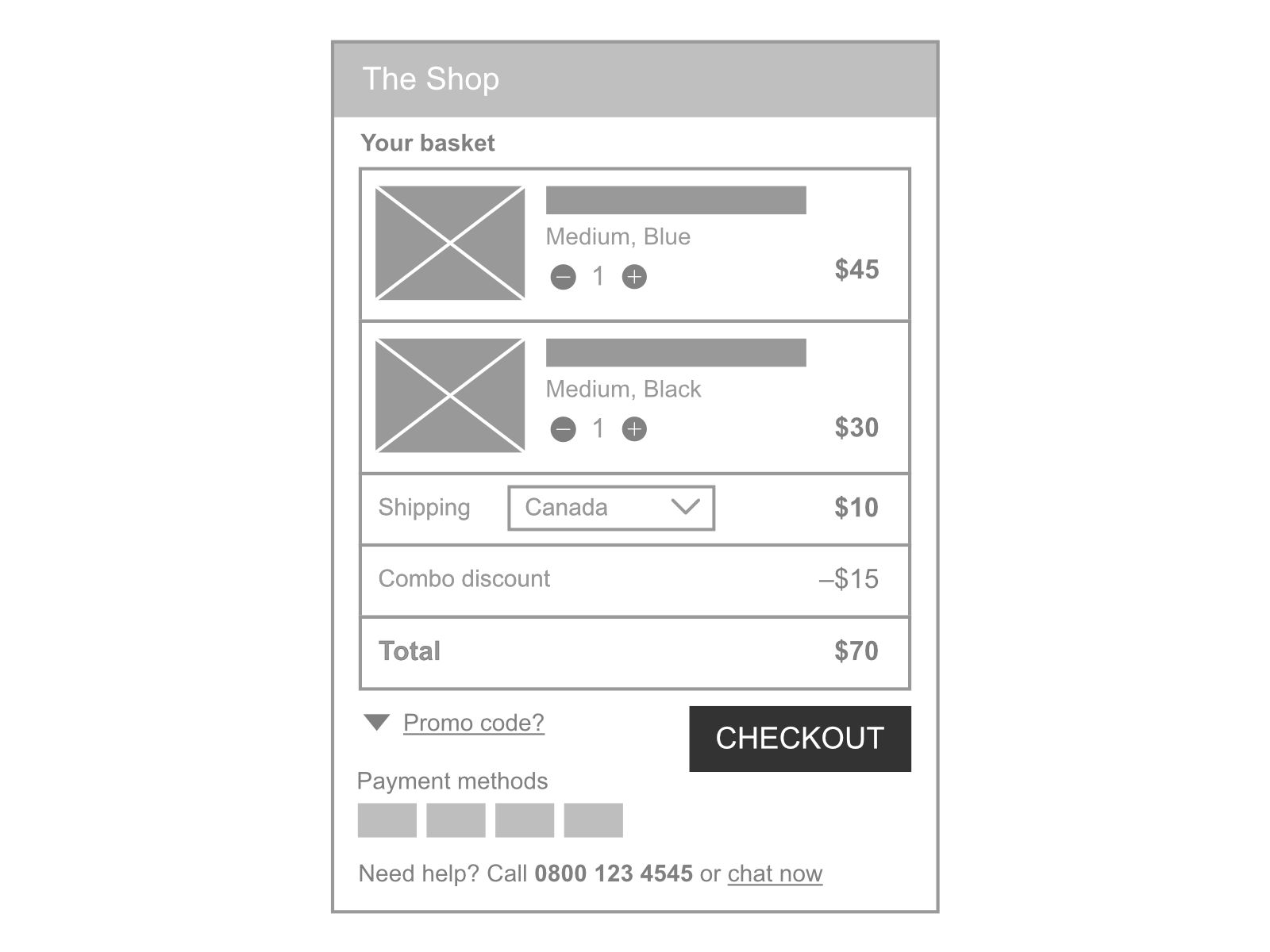 Shopping basket UX phone live chat