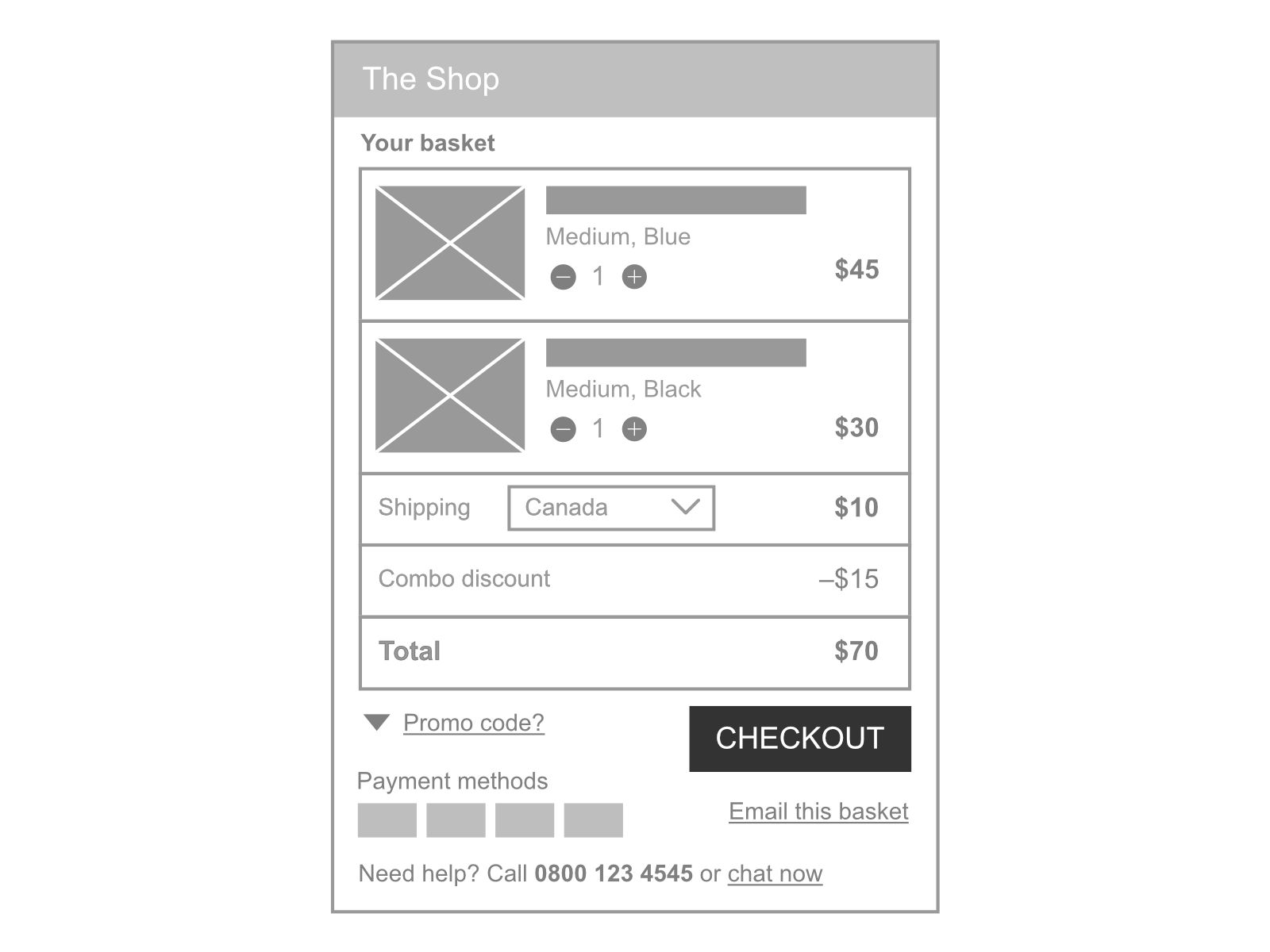 Shopping basket UX email
