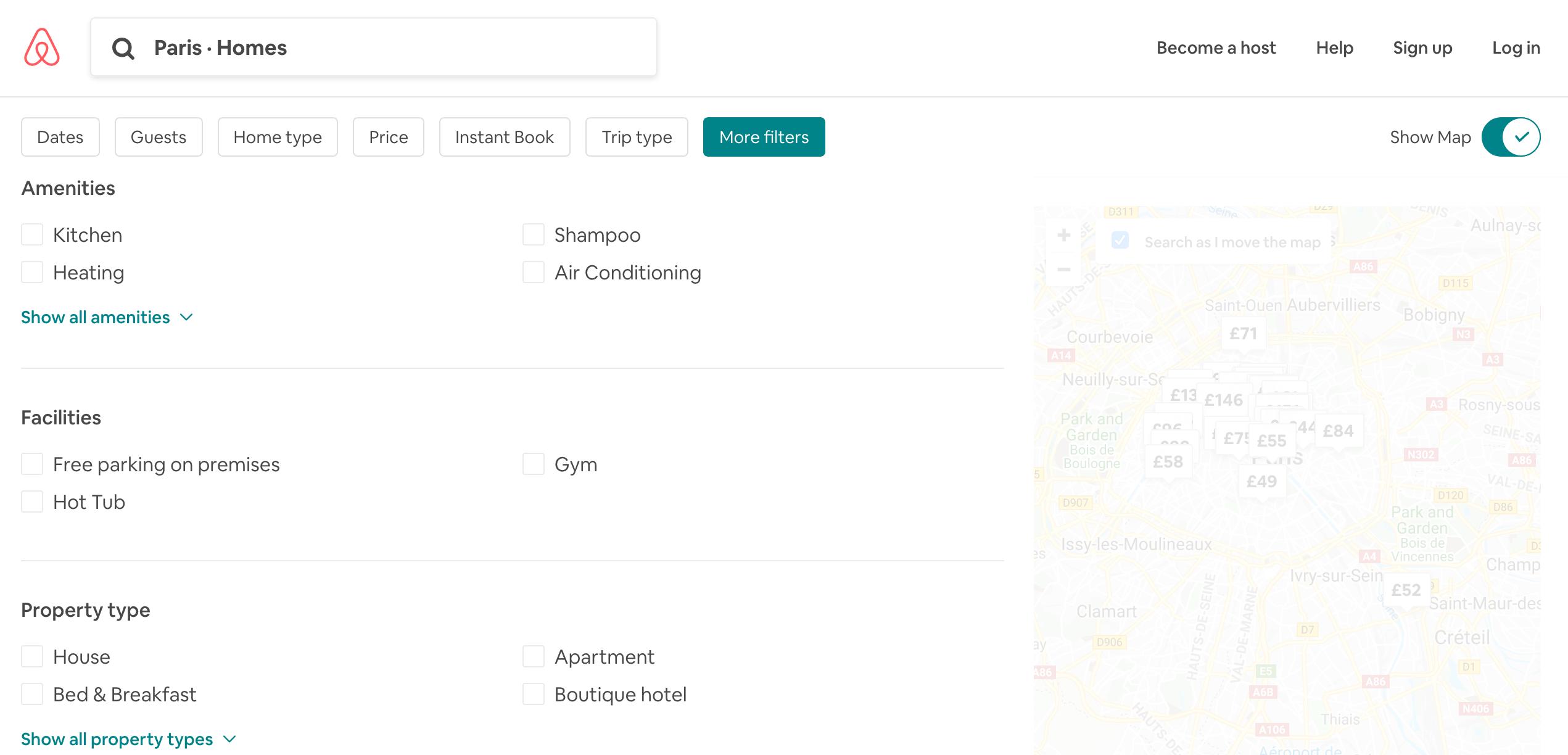 Airbnb listings filters menu