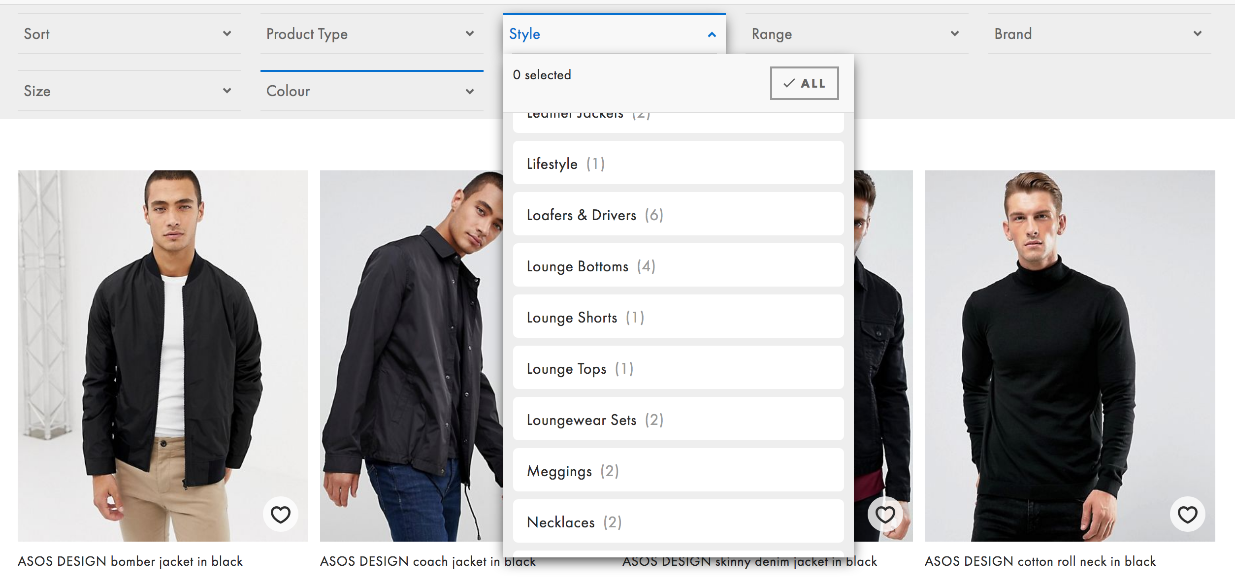 ASOS listings page top filters