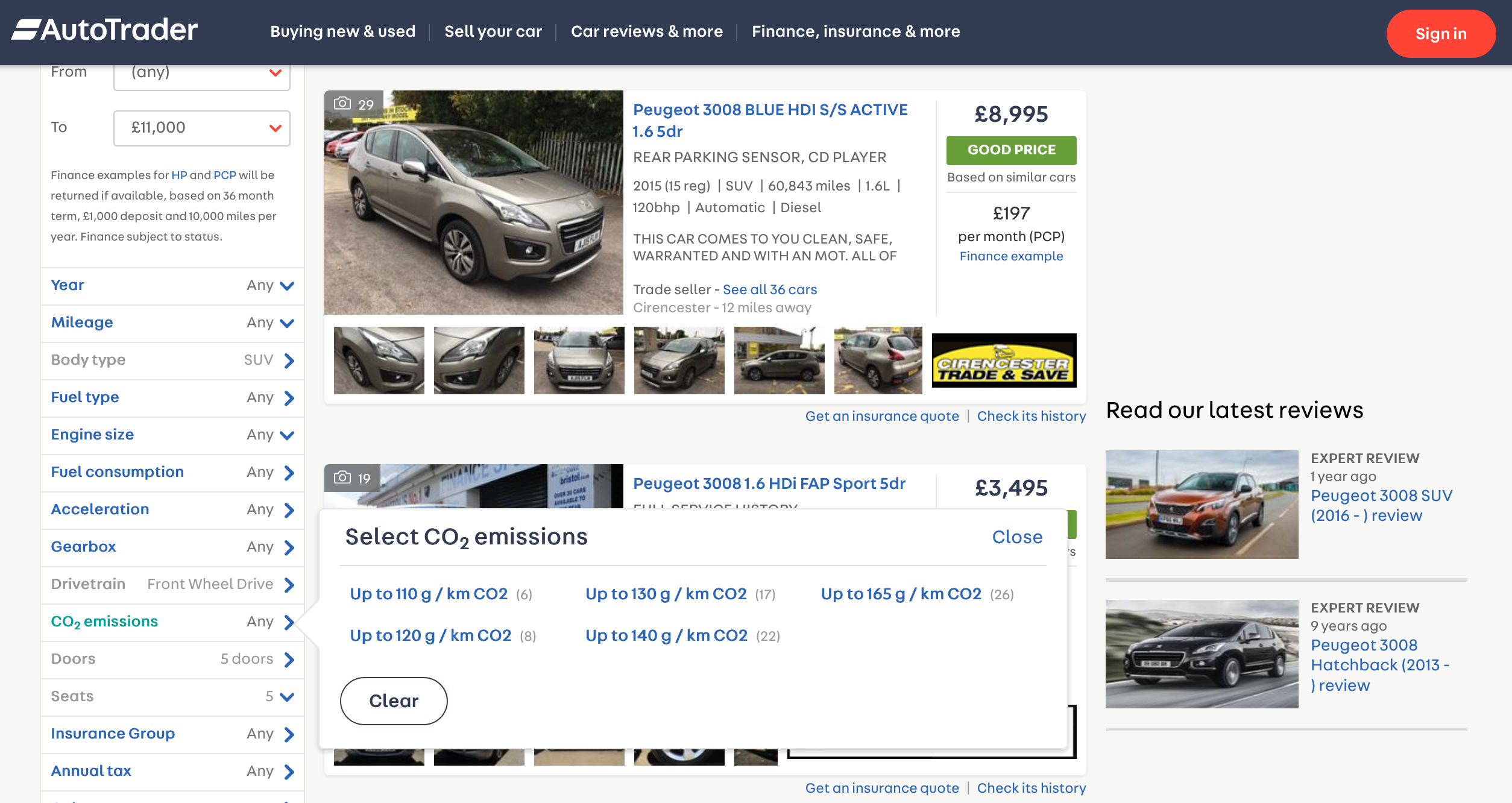 Auto Trader ecommerce listings page