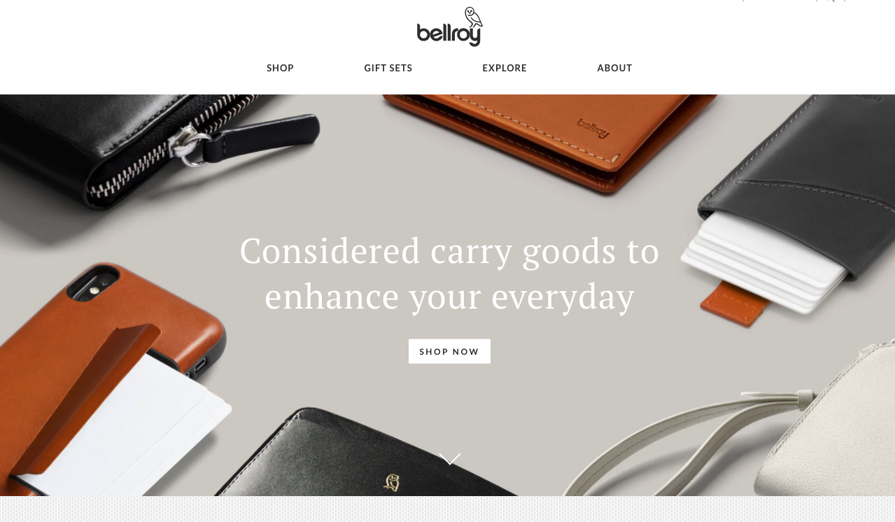 Bellroy homepage top banner