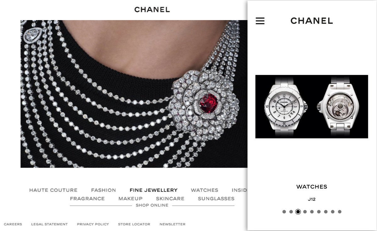 The Chanel homepage carousel