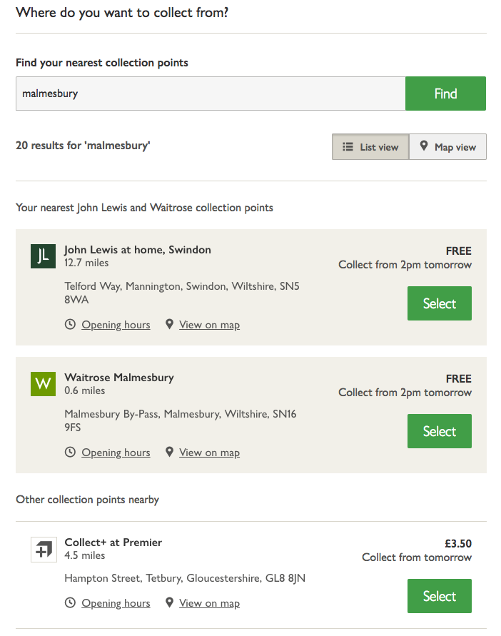 Delivery selection John Lewis checkout
