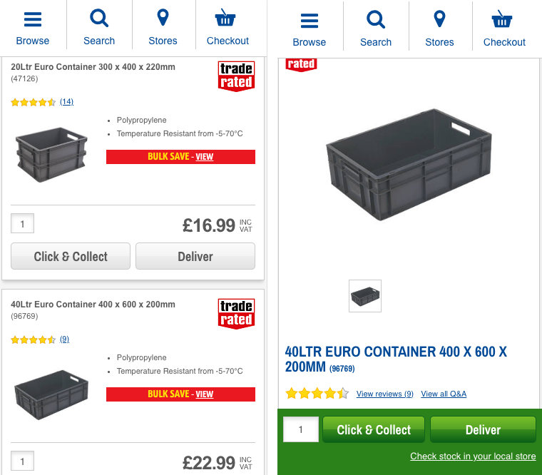Collection and delivery buttons on Screwfix