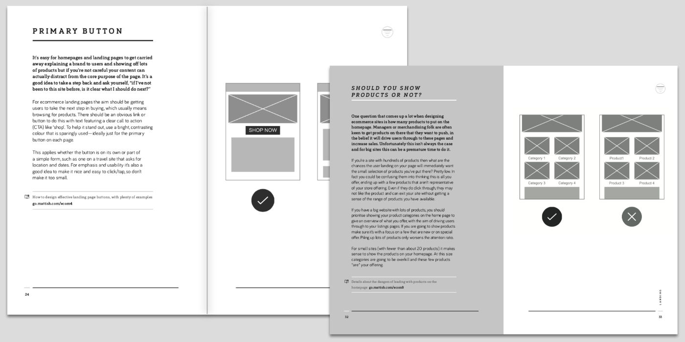 Spreads from the ecommerce book