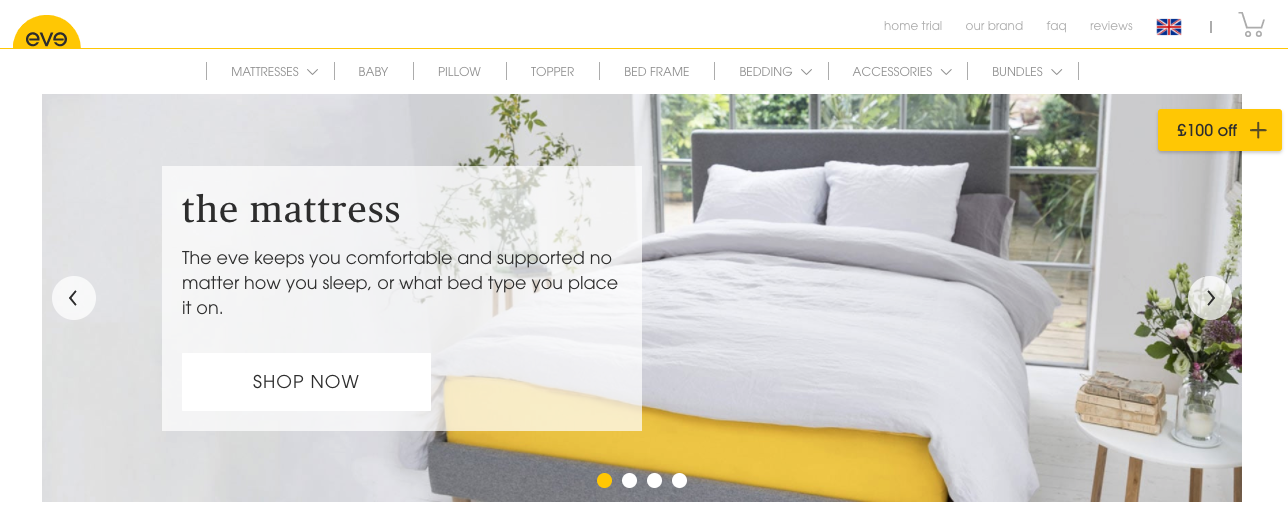 Eve mattresses homepage banner