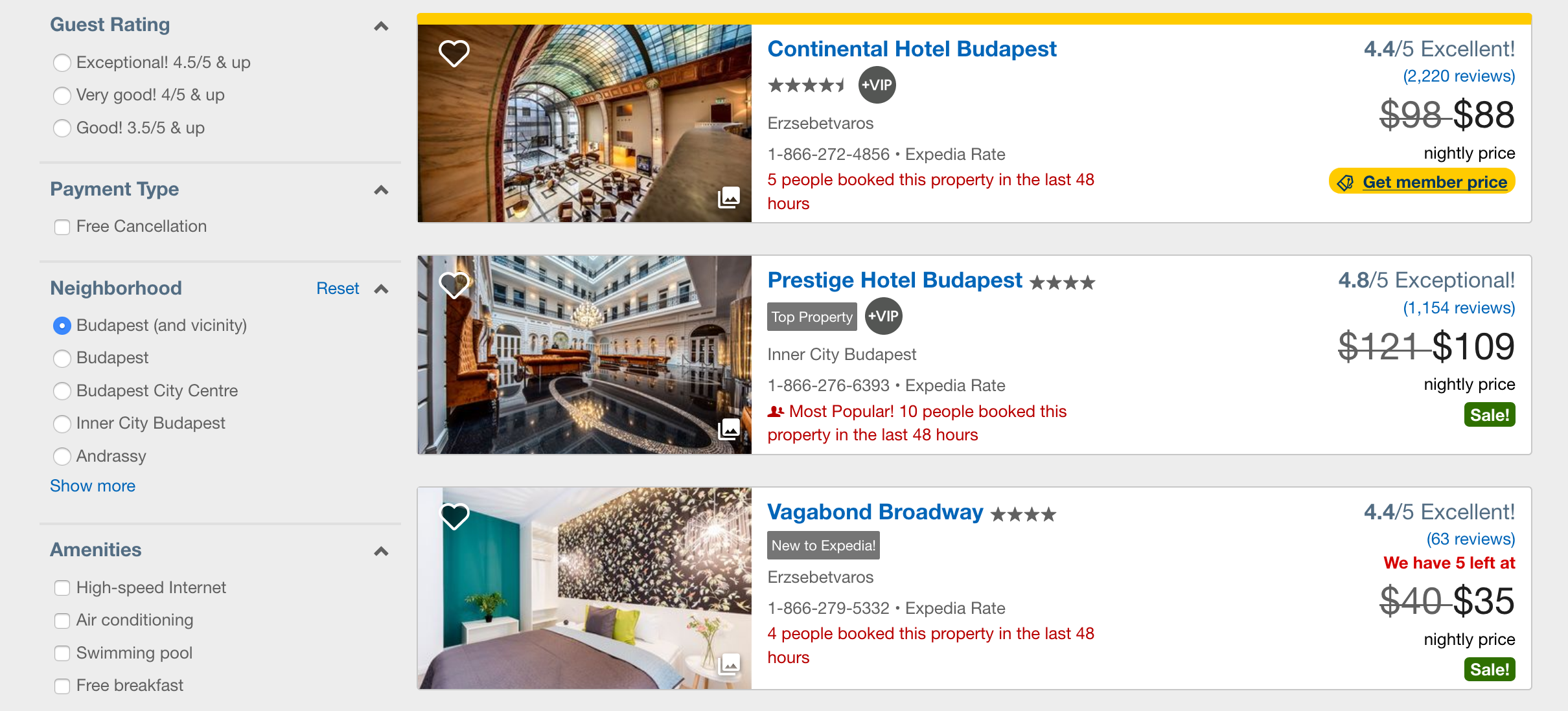 Expedia listings page left side filters