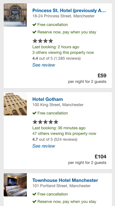 Expedia listings page small images