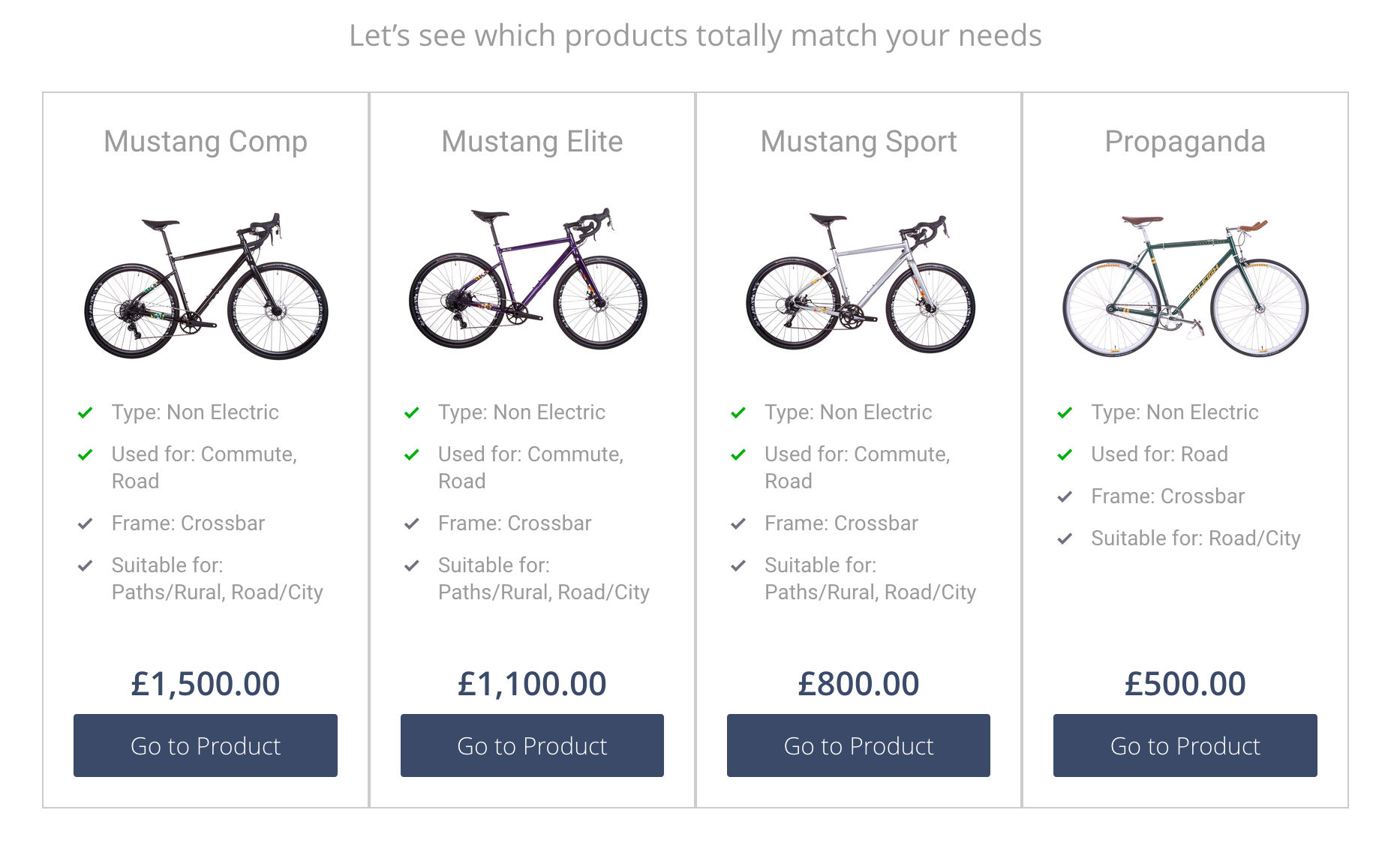 Bike product finder showing four results
