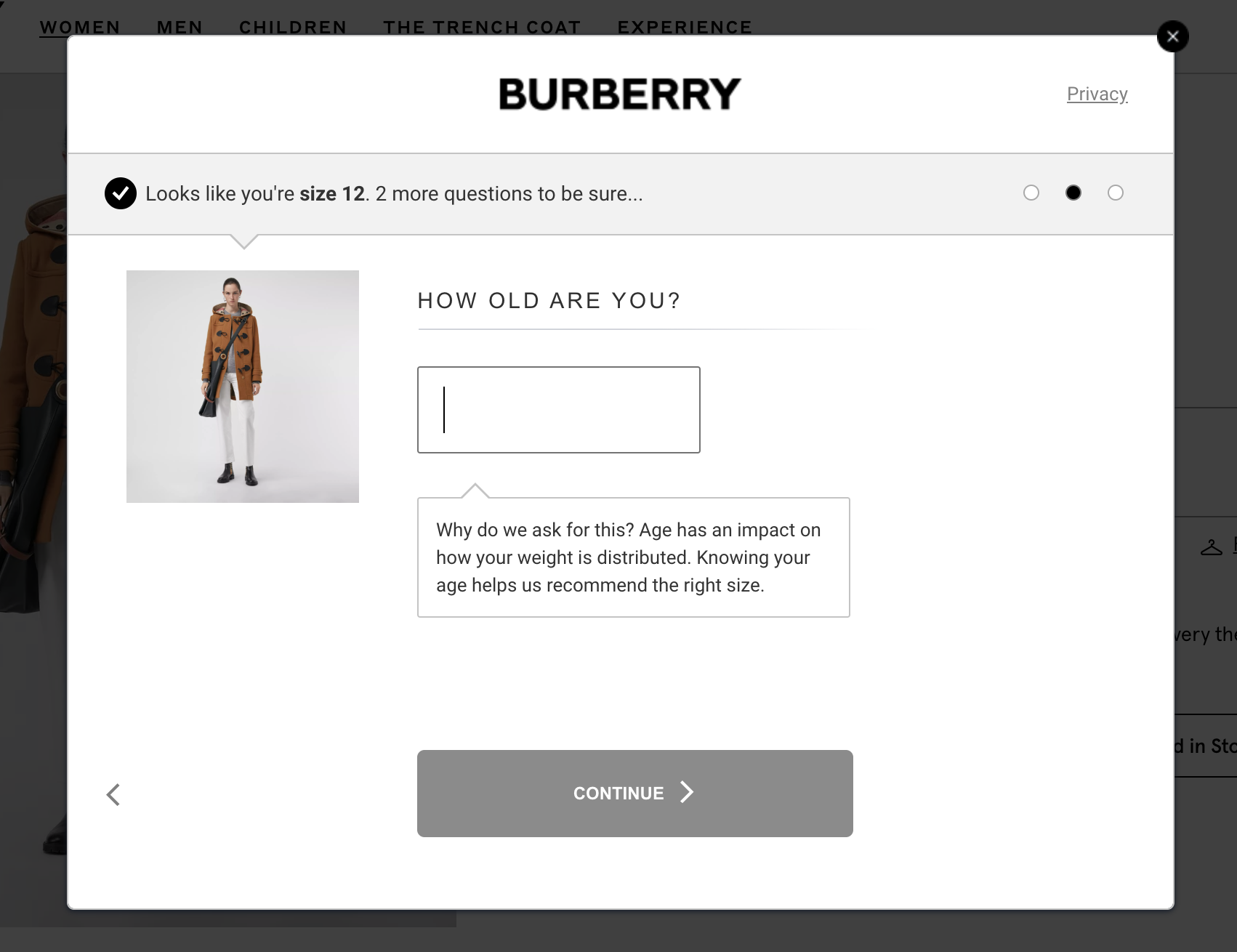 Burberry fit finder age question