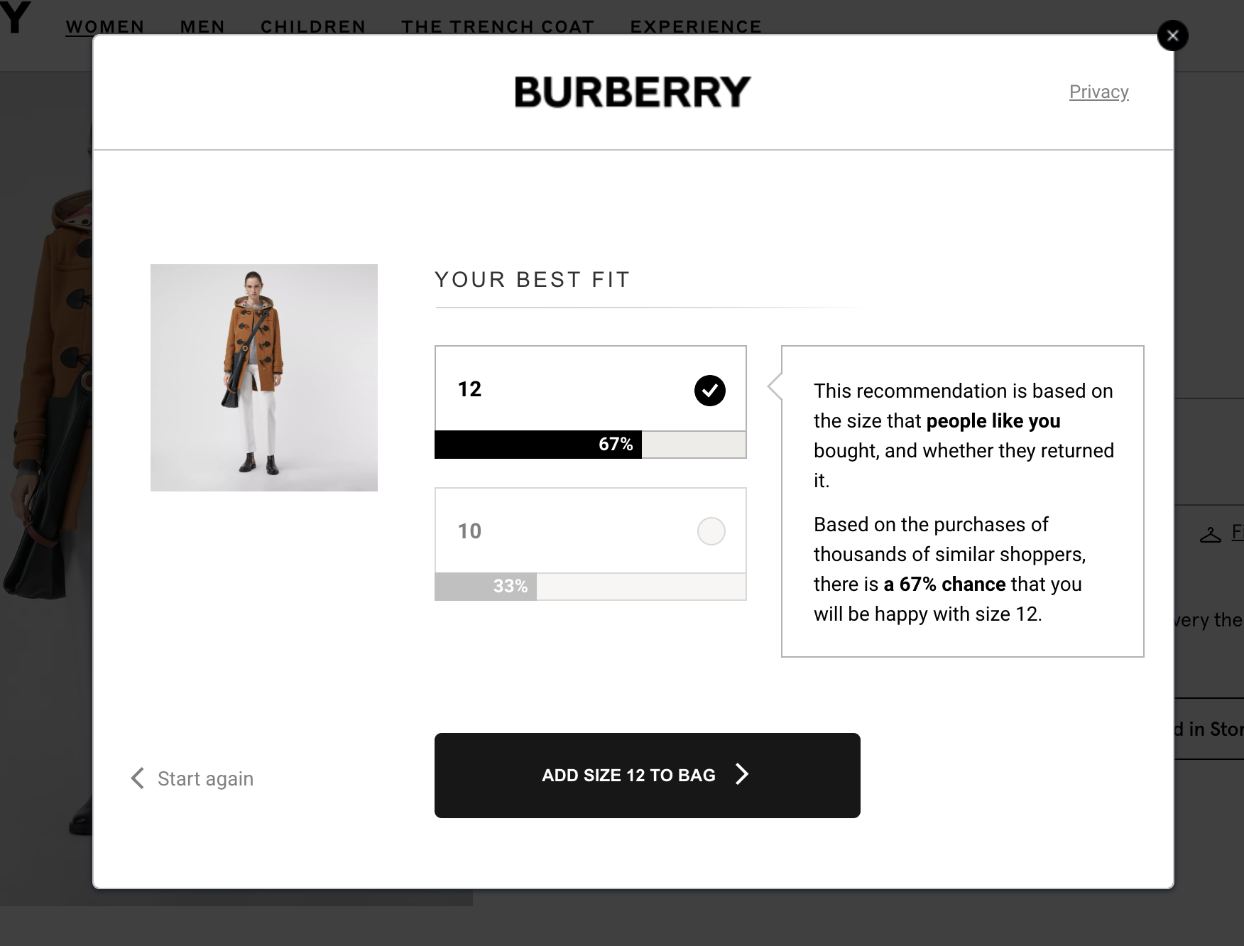 Burberry fit finder result with percentage