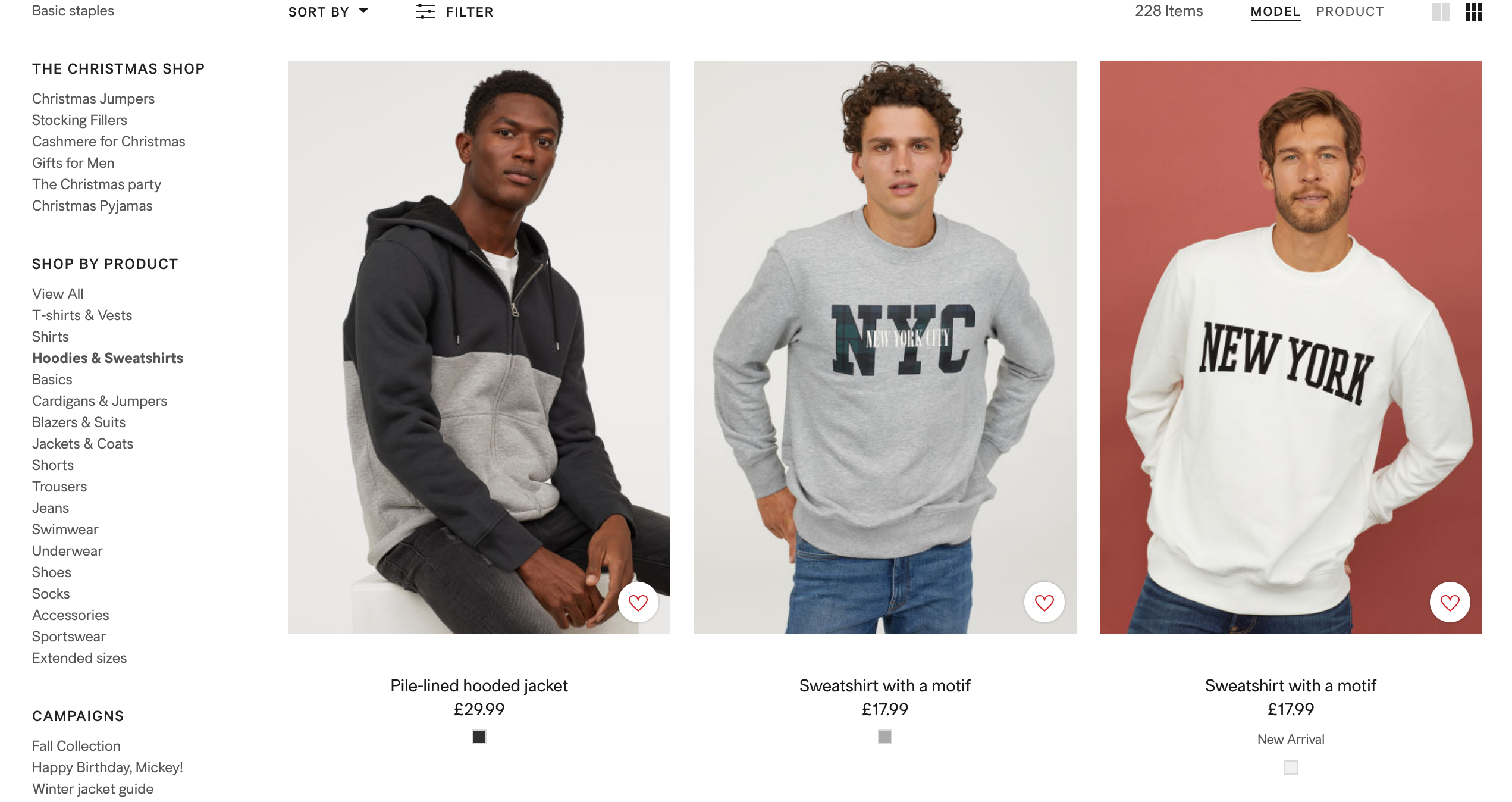 H&M fashion product listings page