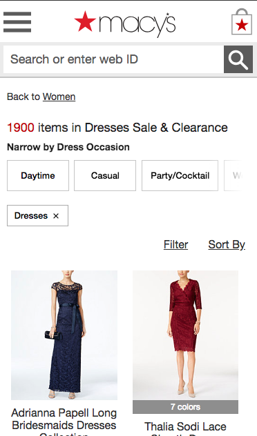 Macy's progressive contextual mobile filters
