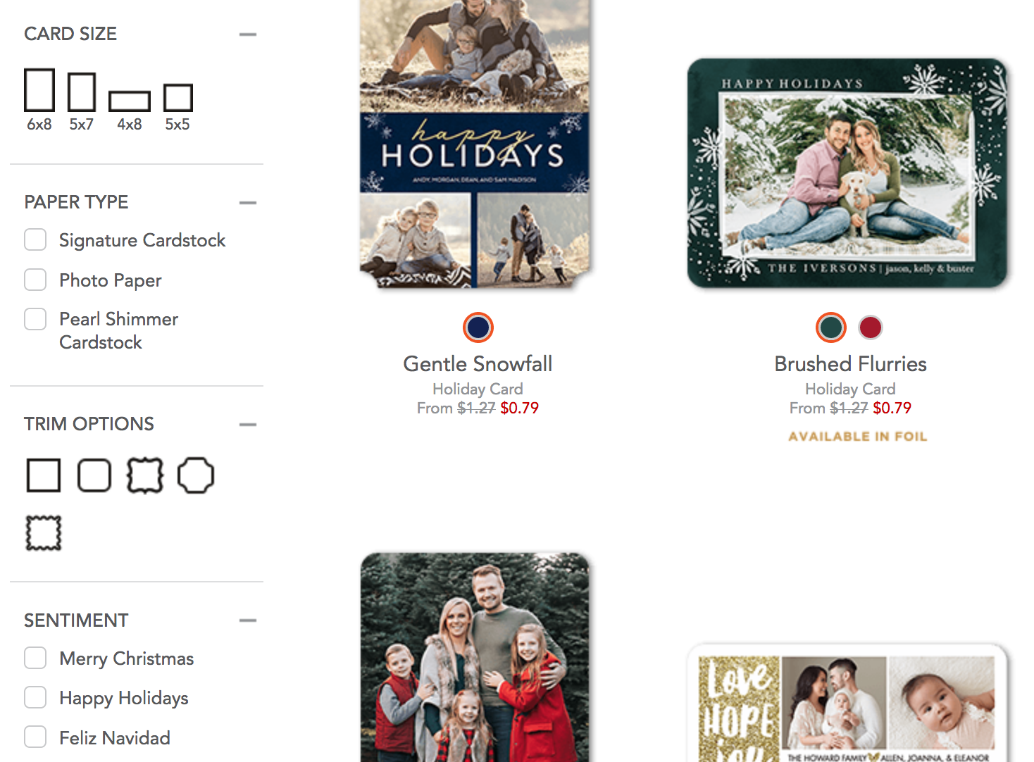 Shutterfly left side visual filters