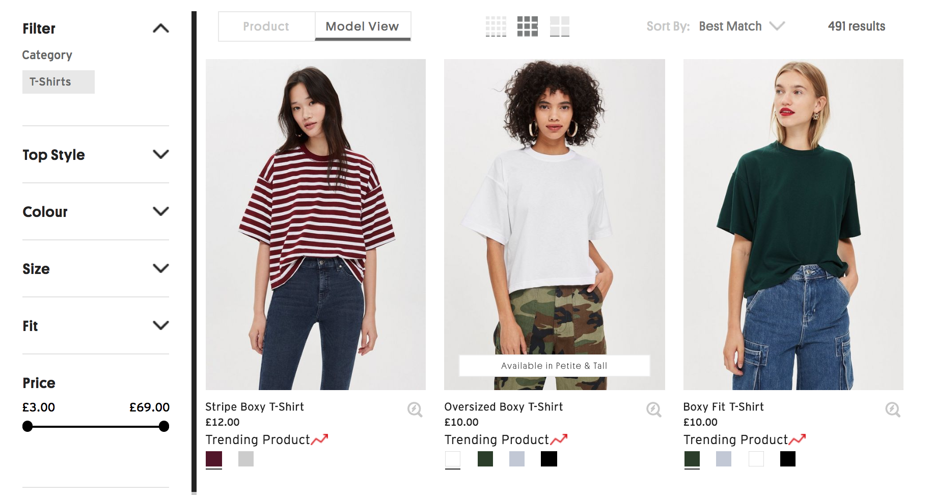 TopShop desktop product listing page