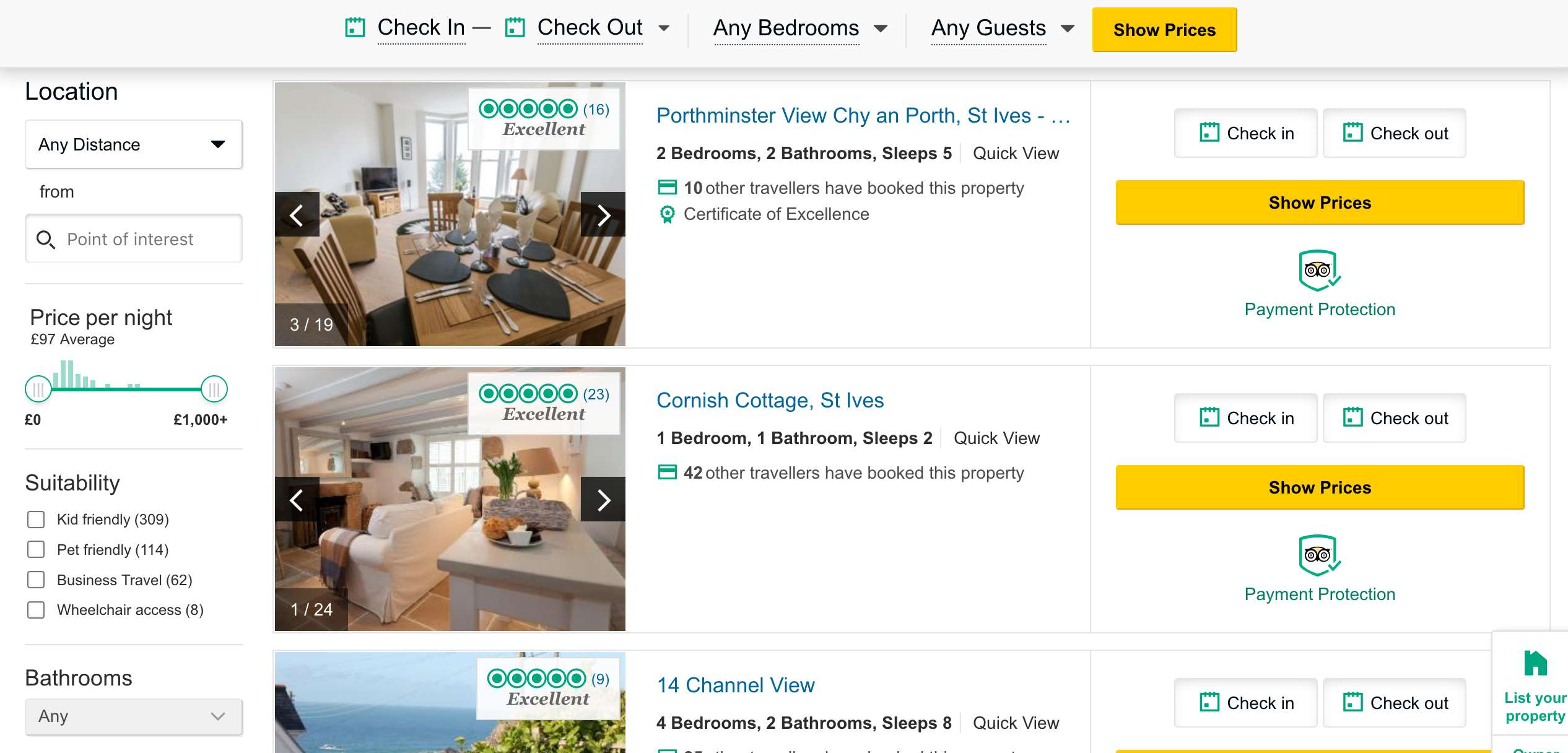 TripAdvisor listings page multiple images