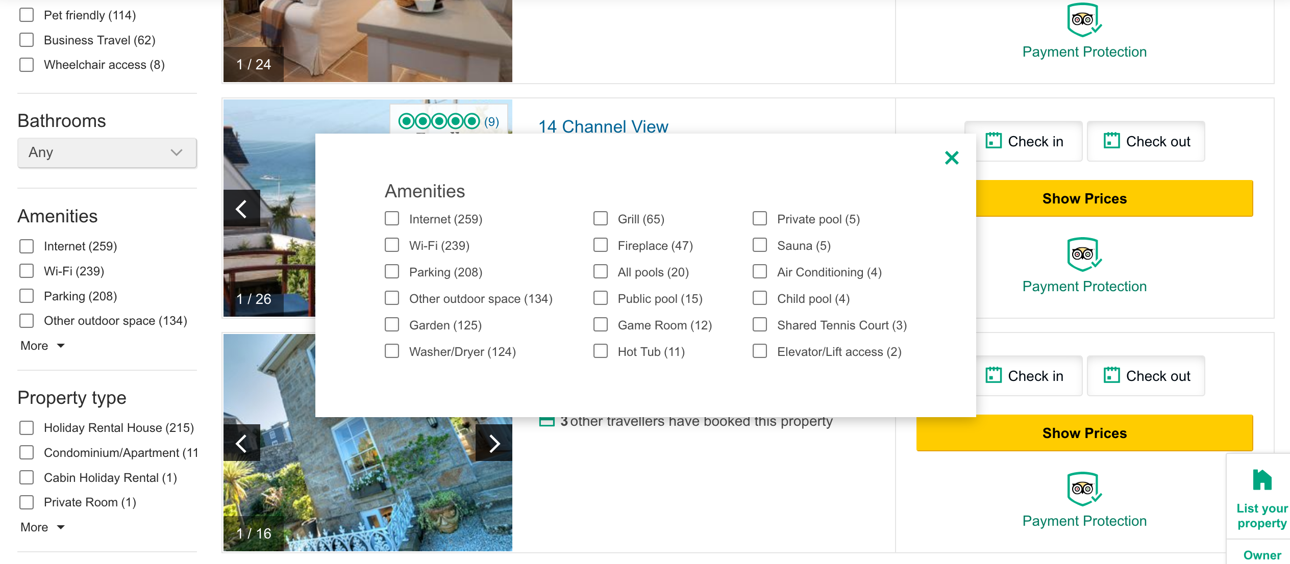 TripAdvisor listings page filters pop-up