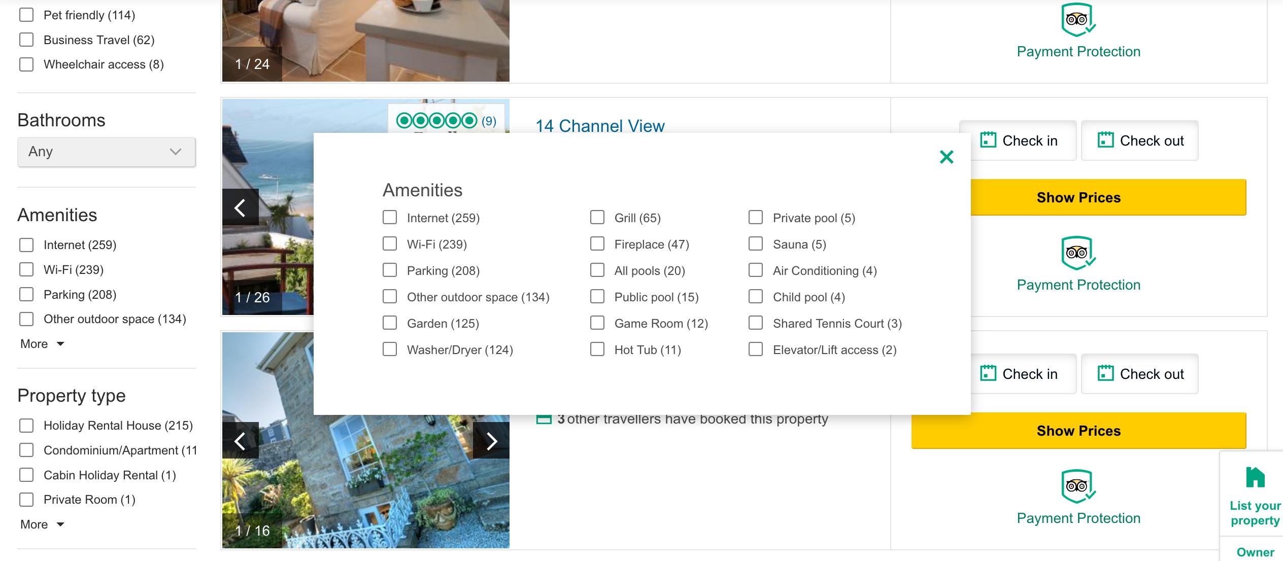 TripAdvisor listings page filters pop-up