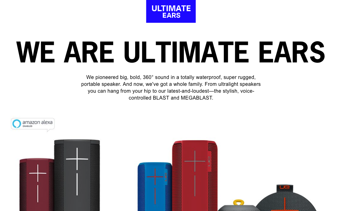 Ultimate Ears homepage brand pitch