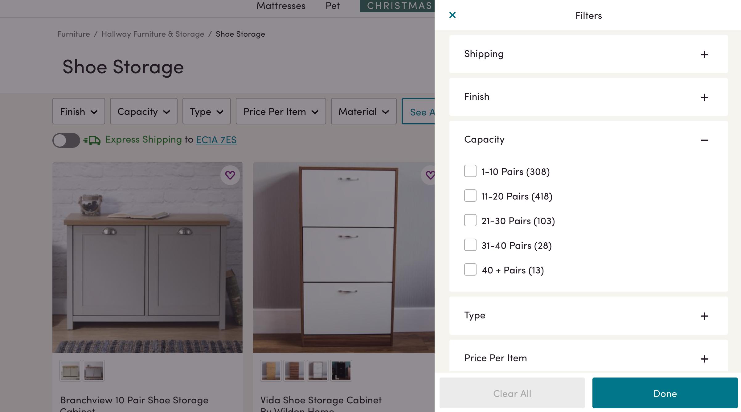 Wayfair ecommerce listings filters overlay panel